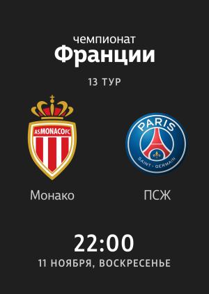 13 тур: Монако - ПСЖ 0:4. Обзор матча